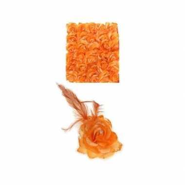 Carnavalskleding oranje haarbloem elastiek helmond
