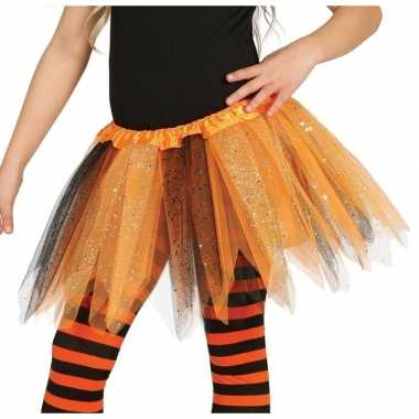 Carnavalskleding oranje/zwarte verkleed petticoat meisjes helmond