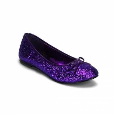 Carnavalskleding  Paars gekleurde ballerina schoenen glitters helmond