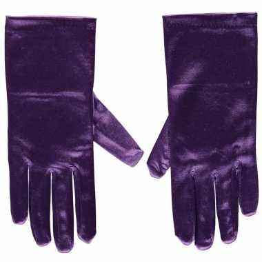 Carnavalskleding paarse gala handschoenen kort satijn helmond