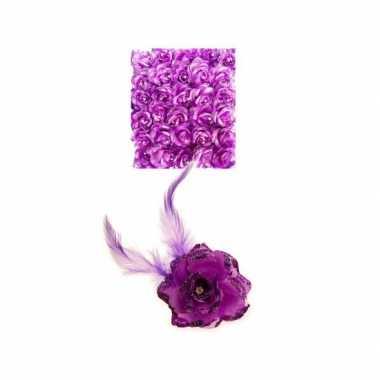 Carnavalskleding paarse haarbloem elastiek helmond