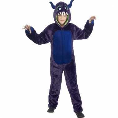 Carnavalskleding paarse monster onesie kinderen helmond