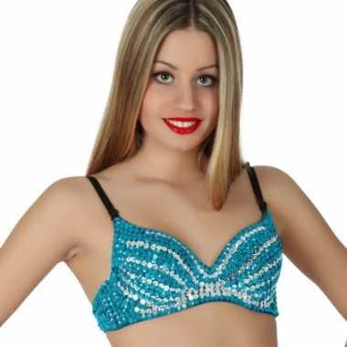 Carnavalskleding pailletten bh blauw helmond