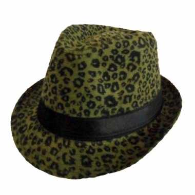 Carnavalskleding panter print hoed donkergroen trilby model helmond