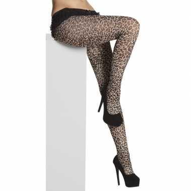 Carnavalskleding panty denier luipaard/panter dames helmond