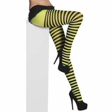 Carnavalskleding panty denier zwart groene strepen dames helmond