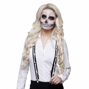 Carnavalskleding party bretels skelet helmond
