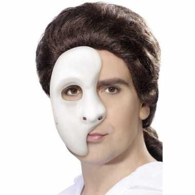 Carnavalskleding phantom spook half masker wit heren helmond