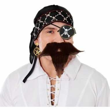 Carnavalskleding piraat verkleedsetje bandana, ooglapje, snor baardje