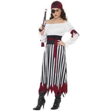 Carnavalskleding piraten jurk dames zwart/wit/rood helmond