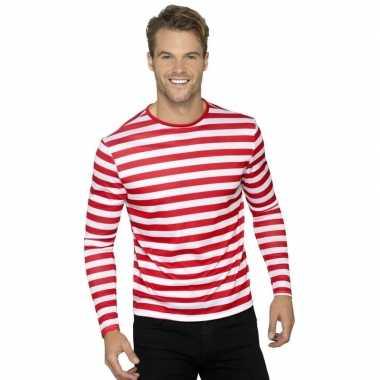Carnavalskleding piraten t shirt wit rood volwassenen helmond