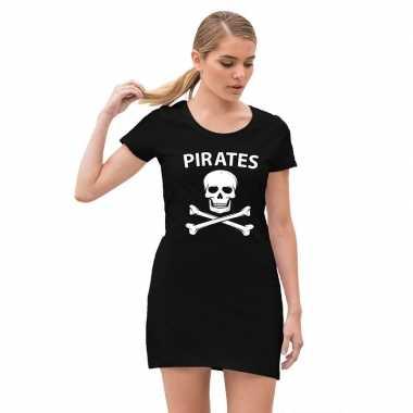 Carnavalskleding piraten verkleed jurkje doodshoofd zwart dames helmo