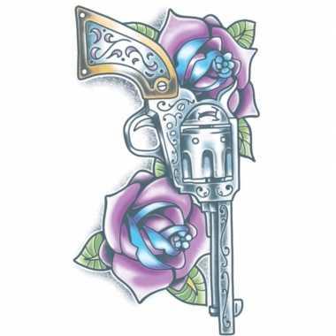 Carnavalskleding plak tatoeage revolver dag dood helmond