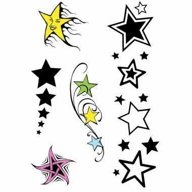 Carnavalskleding plak tatoeages sterren print helmond