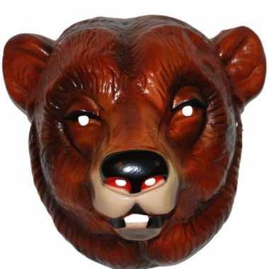 Carnavalskleding plastic beren masker bruin volwassenen helmond