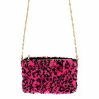 Carnavalskleding pluche handtas roze panterprint nepbont helmond