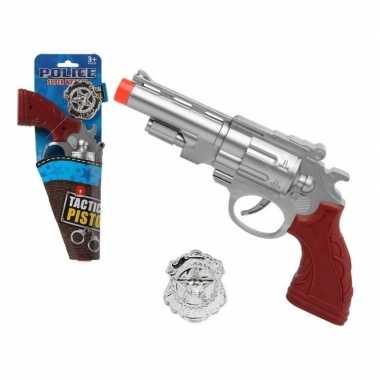Carnavalskleding politie speelgoed pistool zilver helmond