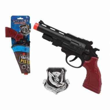 Carnavalskleding politie speelgoed pistool zwart helmond