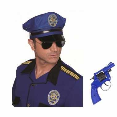 Carnavalskleding politie verkleedsetje politiepet nep revolver helmon