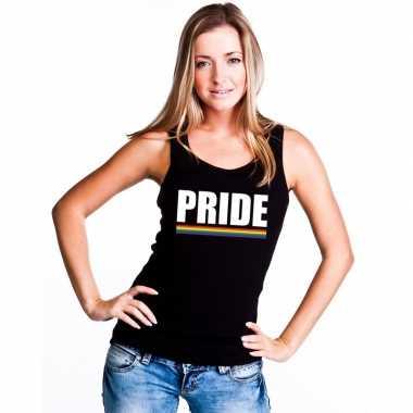 Carnavalskleding pride mouwloos shirt zwart regenboog vlag dames helm