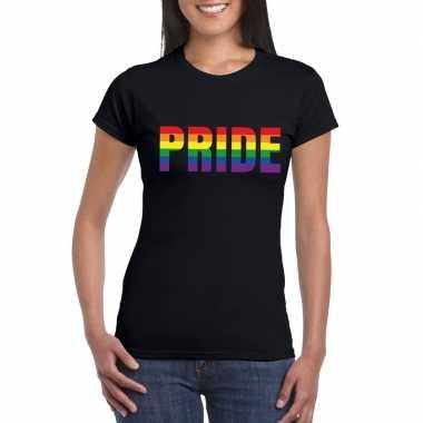 Carnavalskleding pride regenboog tekst shirt zwart dames helmond