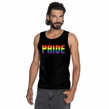 Carnavalskleding pride regenboog tekst singlet shirt/ tanktop zwart h
