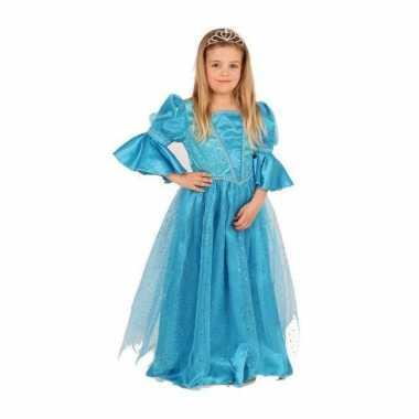 Carnavalskleding  Prinsessen jurk blauw meisjes helmond