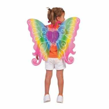 Carnavalskleding regenboog vleugels kinderen helmond