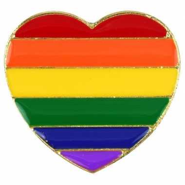 Carnavalskleding regenboogvlag kleuren metalen pin/broche hartje helm