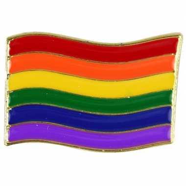 Carnavalskleding regenboogvlag kleuren metalen pin/button helmond