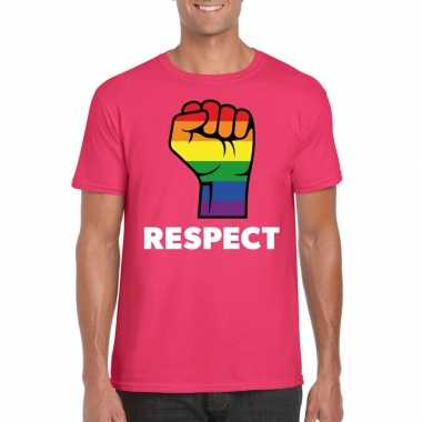 Carnavalskleding respect lgbt shirt regenboog vuist roze heren helmon