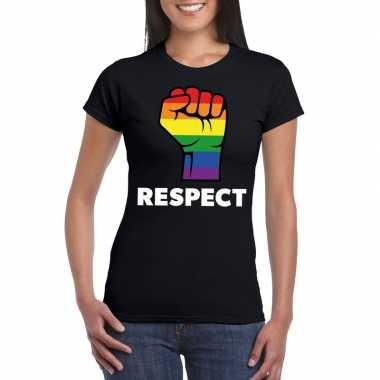 Carnavalskleding respect lgbt shirt regenboog vuist zwart dames helmo