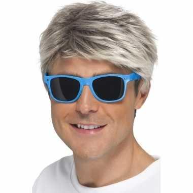 Carnavalskleding retro verkleed bril neon blauw donkere glazen helmon