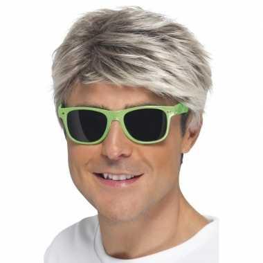 Carnavalskleding retro verkleed bril neon groen donkere glazen helmon