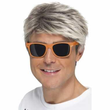 Carnavalskleding retro verkleed bril neon oranje donkere glazen helmo