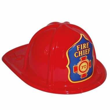 Carnavalskleding rode brandweerhelm speelgoed verkleedaccessoire kind