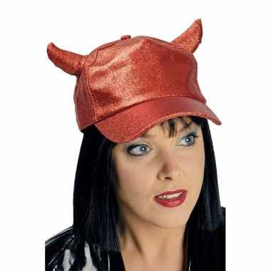 Carnavalskleding rode cap duivelhoorntjes helmond