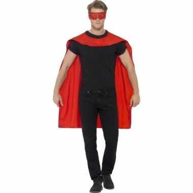Carnavalskleding rode cape oogmasker volwassenen helmond