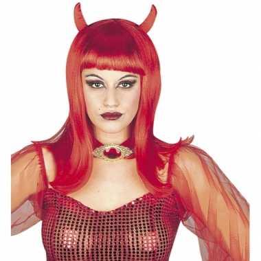 Carnavalskleding rode duivel damespruik helmond