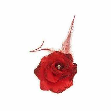 Carnavalskleding rode haarbloem elastiek helmond