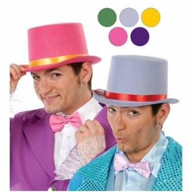 Carnavalskleding rode hoge hoed volwassenen vilt helmond