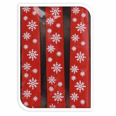 Carnavalskleding rode kerst bretels sneeuwvlokken kerstaccessoires volwassenen helmond