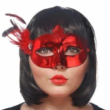 Carnavalskleding rode oogmaskers veren dames helmond