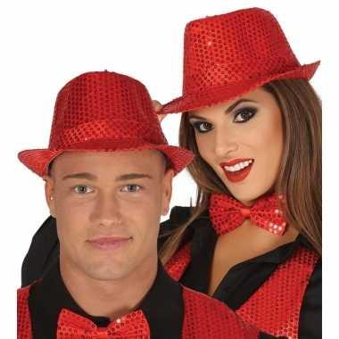 Carnavalskleding rode pailletten hoedje volwassenen helmond