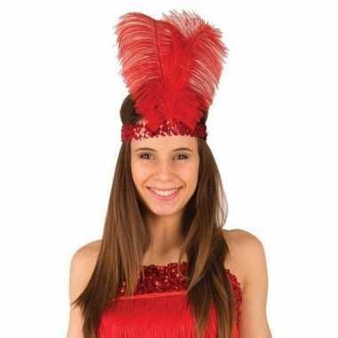 Carnavalskleding rode roaring hoofdband veren dames helmond