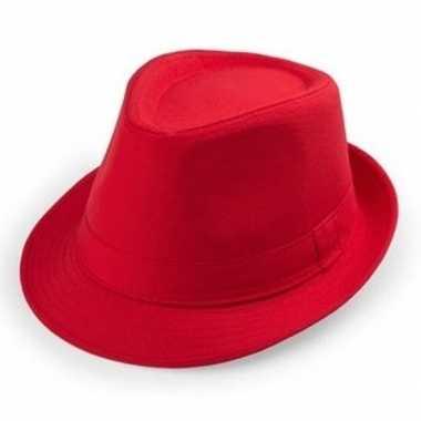 Carnavalskleding rode trilby hoedjes volwassenen helmond