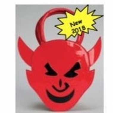 Carnavalskleding rond handtasje rood duivel helmond