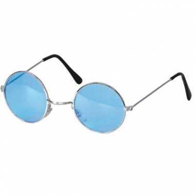 Carnavalskleding ronde hippie bril blauw helmond