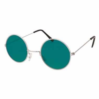 Carnavalskleding ronde hippie bril groen helmond