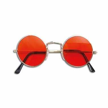 Carnavalskleding ronde hippie bril oranje helmond